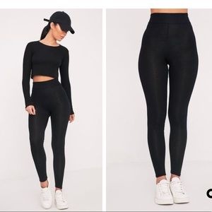 196878facc6 PrettyLittleThing Pants - Dabria Black High Waisted Jersey Leggings